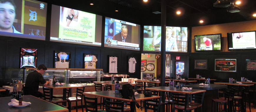 TV and projectors installed in bar
