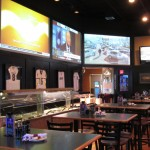 Multiple projectors and audio was installed in the large Sports Bar and Restaurant.